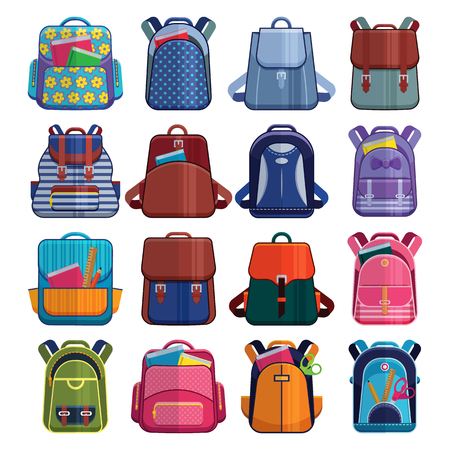 Cartoon kids school bags backpack Back to School rucksack vector set illustration isolated on white Ilustracja
