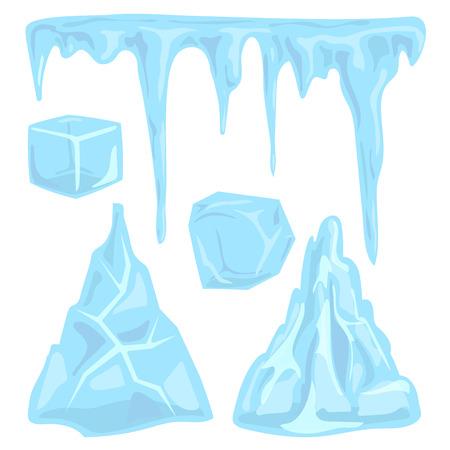 氷吹きだまりつらら要素北極の雪冷たい水冬装飾ベクトル イラスト。 写真素材 - 86851147