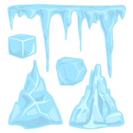 Ice caps snowdrifts icicles elements arctic snowy cold water winter decor vector illustration. Imagens
