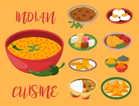Indian chicken jalfrezi with rice and vegetable curry various spice chicken restaurant healthy cuisine food vector illustration. Imagens - 86851149