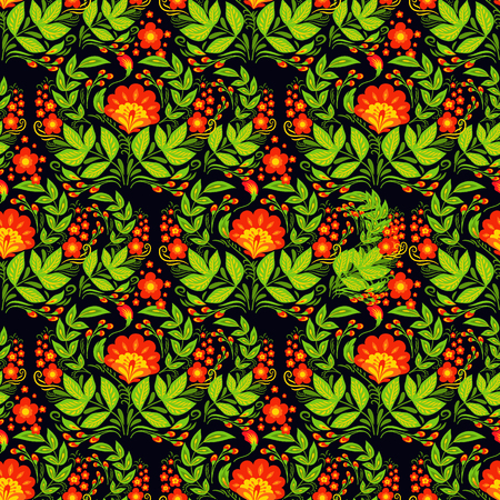 Vector khokhloma seamless pattern background design traditional Russia drawn illustration ethnic ornament painting illustration 版權商用圖片 - 86851152