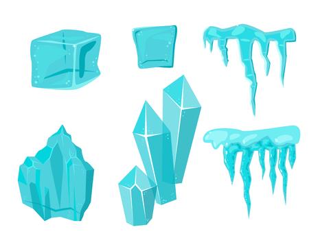 Realistische Eiskappen-Schneewehen und Eiszapfen gebrochenes Stückstückklumpen kalte gefrorene Blockkristallwinter-Dekorvektorillustration Standard-Bild - 86851153