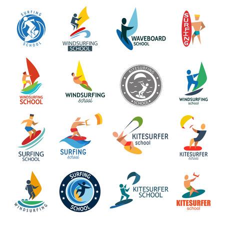 Kite surfing windserfing water sport club logo board sea summer wave wind badge vector illustration.
