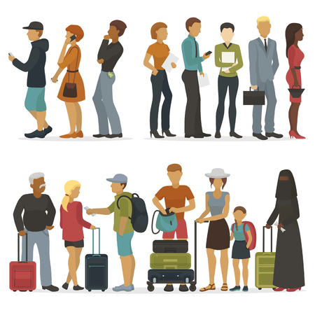 Línea de caracteres de los jóvenes mientras espera su turno para entrevista o ilustración de vector de viaje.