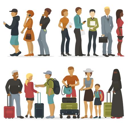 Linia postaci młodych ludzi, czekając na swoją kolej na rozmowę kwalifikacyjną lub wycieczkę ilustracji wektorowych.