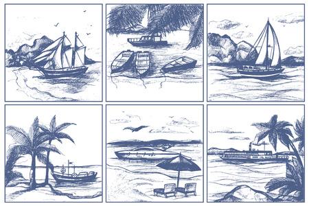 Kuststrand met palmen varende boten op de stijlschepen van de horizon vectorschetshand getrokken krabbel op overzeese illustratie.