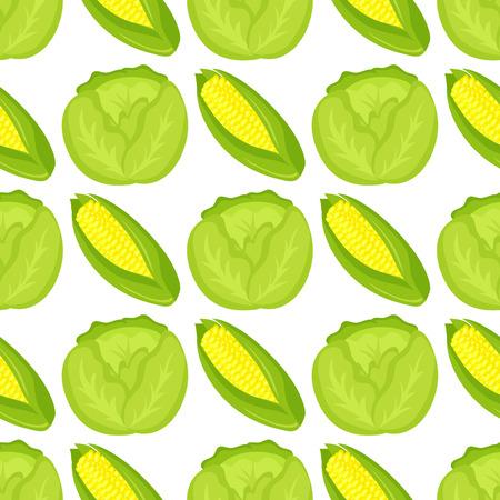 Cabbage seamless pattern background for food design harvesting garden summer vitamin wallpaper vector illustration. Healthy fresh natural vegetable.