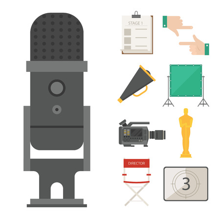 Cinema movie making tv show tools equipment symbols icons vector set illustration. Isolated entertainment design camera sign. Director cinematography multimedia equipment.