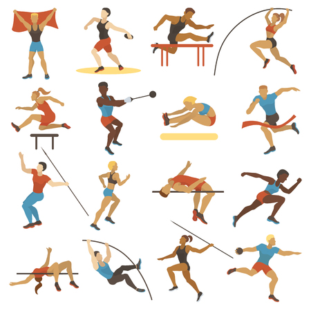 High jump athlete sport people athletics characters silhouette doing different track vector illustration.