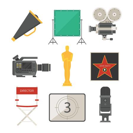 Cinema movie making tv show tools equipment symbols icons vector cinematography illustration. Ilustração