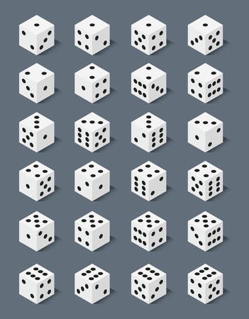 six objects: Isometric dice number lucky game fortune casino variants loss gamble cube vector illustration.