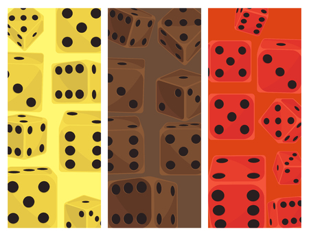 Set of isometric dice number lucky card design. Game fortune casino variants loss vector illustration. Gamble cube opportunity chance risk tool.