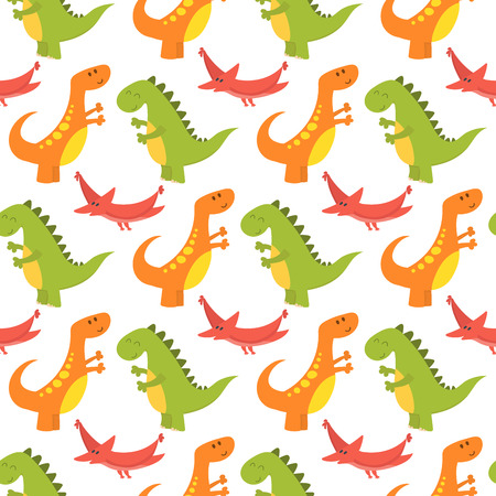 Dinosaur cartoon seamless pattern vector illustration. Cartoon dinosaurs cute monster background funny animal and prehistoric character. Cartoon comic tyrannosaurus fantasy beast. Çizim