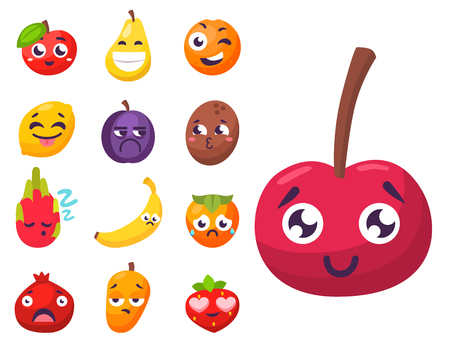 Cartoon emotions fruit characters natural food vector smile nature happy expression juicy mascot tasty design.