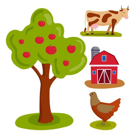 La comida de la naturaleza del ejemplo del vector de la granja que cosecha crecimiento cultivado agricultura del grano cultivó diseño. Foto de archivo - 86921503