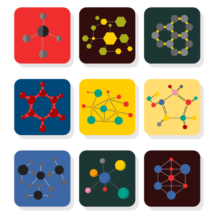 Colorful molecular structures in the form of sphere structure microscopic technology web design, molecule vector. Ilustração