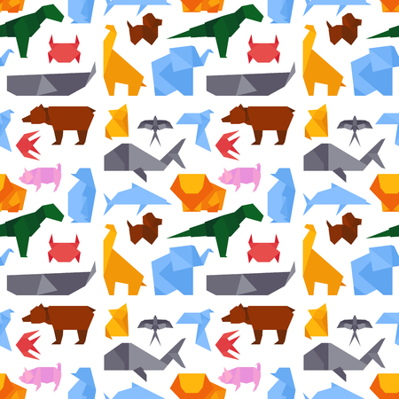 Origami style illustrations of different animals background seamless pattern japan creative traditional toy vector.