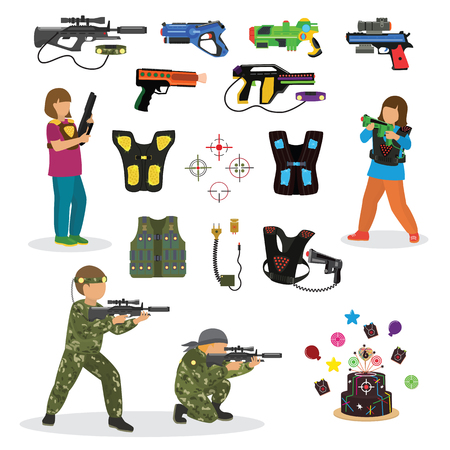 Laser tag fun game vector set in flat style gun optical tools people characters neon light weapon vector illustration. Stock Vector - 86921514