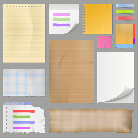 Different clean paper sheets realistic style notes vector illustration. Illustration