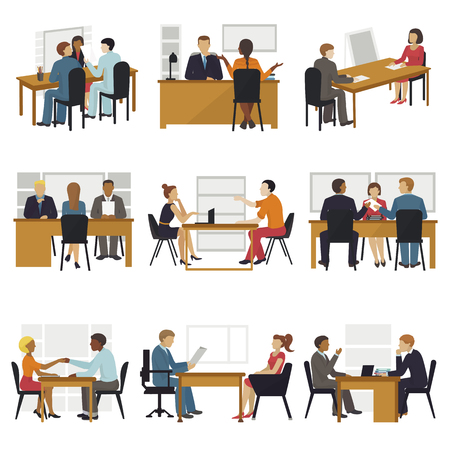 Business people sitting room long time amusing meeting candidates characters await in queue for job search interview vector illustration.