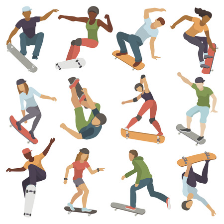 Skateboarders people tricks silhouettes sport extreme action active skateboarding urban young jump person vector illustration.