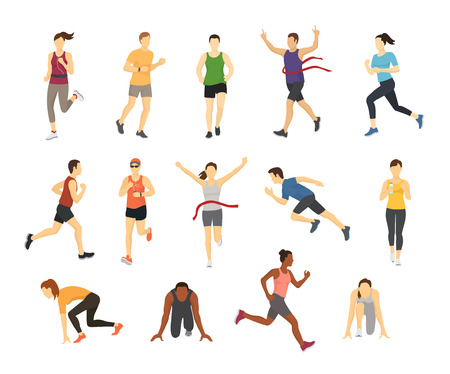 Different running athlets sport people runner group with kit elements silhouette character design let s run concept vector illustration. 向量圖像