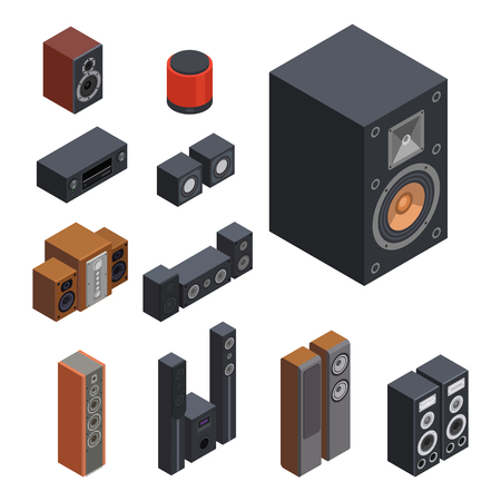 Home isometric sound system stereo acoustic 3d vector music loudspeakers player subwoofer equipment technology. Illustration