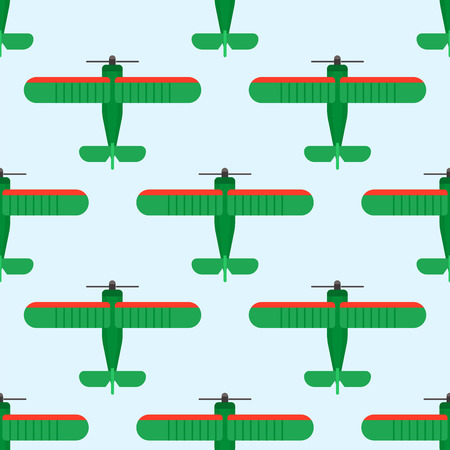 Vector airplane illustration top view seamless pattern aircraft transportation travel way design journey background. Stock fotó - 86999387