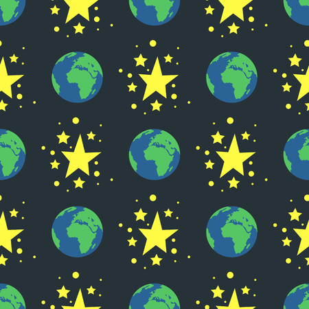 Shiny stars style seamless pattern nature globe earth gold award abstract design doodle night artistic background vector illustration.