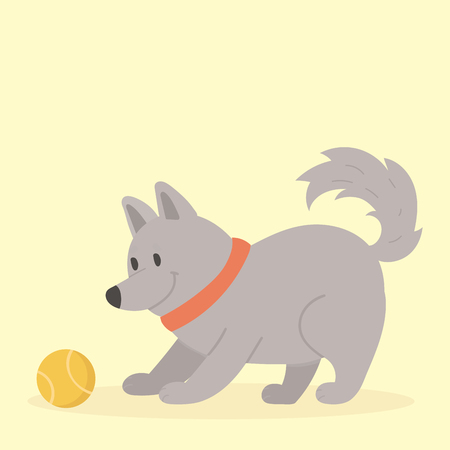 Vector illustration cute playing dog character funny purebred puppy comic happy mammal breed