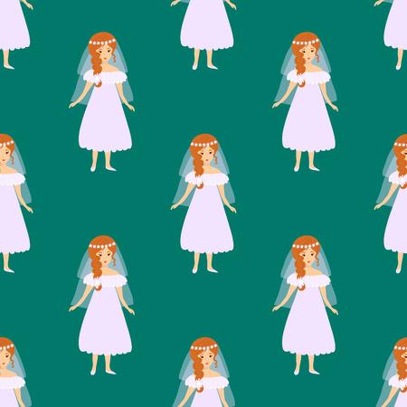 Hochzeits-Brautmode-Charakter-Vektorillustrationsfeierheirat-Modefrauen-nahtloses Mustermädchen-Weißzeremoniekleid Standard-Bild - 86999399