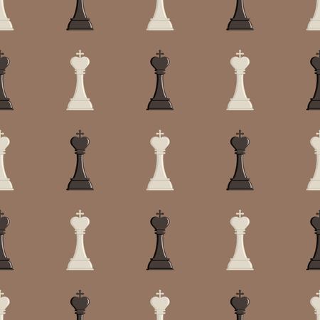 チェス盤とチェス駒ベクターのシームレスなパターン戦略遊びレジャー戦い選択トーナメント背景  イラスト・ベクター素材
