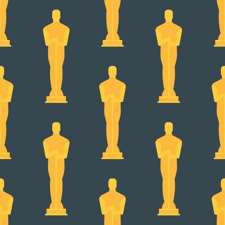 Vector trofee kampioen silhouet beeldje naadloze patroon winnaar goud award prijs sport succes beste win gouden illustratie.