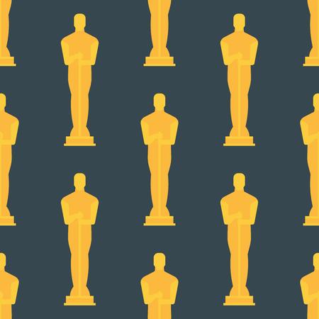 Vector trophy champion silhouette figurine seamless pattern winner gold award prize sport success best win golden illustration.