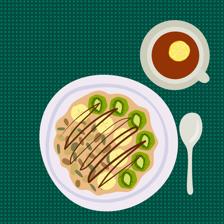 Breakfast oatmeal porridge with berries top view tasty gourmet delicious vegetarian fresh eating morning dessert vector illustration. Ilustracja