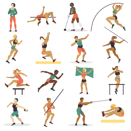 High jump athlete sport woman athletics characters silhouette doing different track vector illustration.