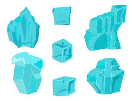 Realistische Eiskappen-Schneewehen und Eiszapfen gebrochenes Stückstückklumpen kalte gefrorene Blockkristallwinter-Dekorvektorillustration Standard-Bild - 86999425