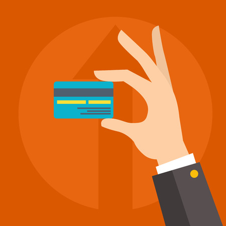Flat vector money credit card in human hand business coin for payments commercial illustration.
