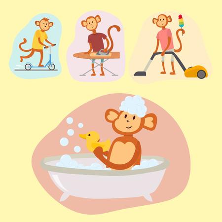 Aap cartoon pak persoon kostuum karakter chimpansee geluk man platte vectorillustratie