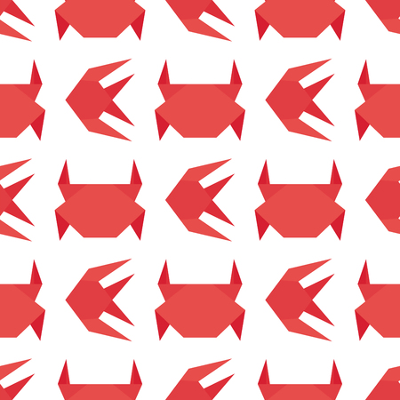 Paper origami crab vector flat illustration fresh seafood background seamless pattern red marine life animal character