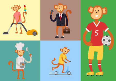 Monkey cartoon suit person costume character chimpanzee happiness man flat vector illustration Illustration