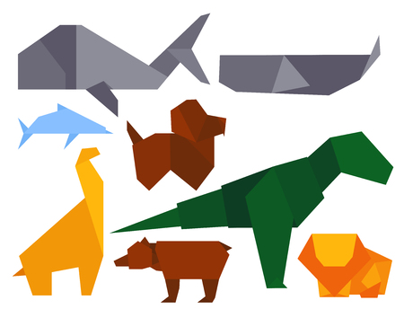 lion wings: Origami style illustrations of different animals Japan creative traditional toy vector.