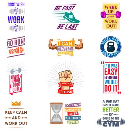 Running marathon logo badge emblems lmotivation phrases for sport maraphone runner vector illustration.