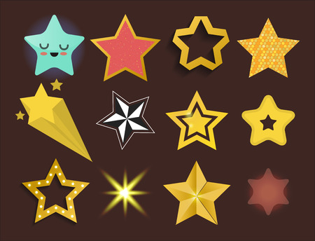 five stars: Shiny star icons in different style pointed pentagonal gold award abstract design doodle night artistic symbol vector illustration.