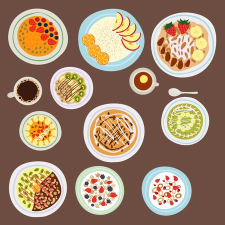열매와 아침 오트밀 죽 아침 식사, 맛있는, 채식주의, 신선한, 아침 식사, 디저트, 스톡 콘텐츠 - 87062327