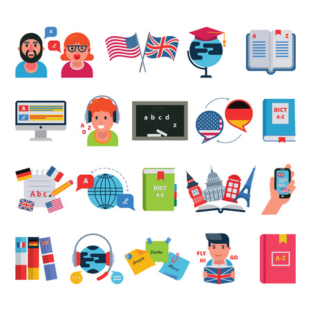 Educatieve talen onderwijs school en reisprogramma's programma's afstand online leren vector illustratie pictogrammen instellen