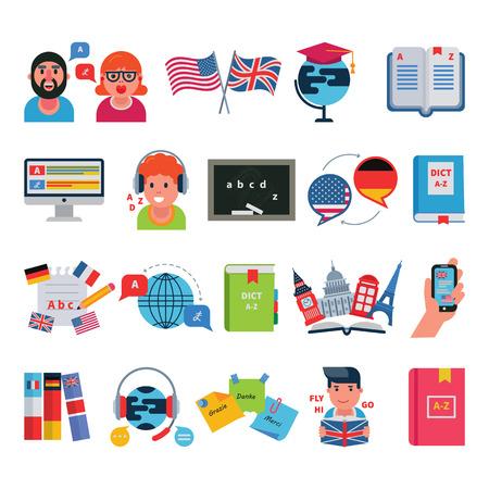 Educativos idiomas educación escuela y programas de viajes programas distancia aprendizaje en línea ilustración vectorial iconos conjunto Foto de archivo - 87062330