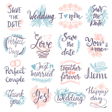 Hand drawn typography save the date quote text logo badge design wedding greeting cards or invitations illustration vector lettering phrases Illustration
