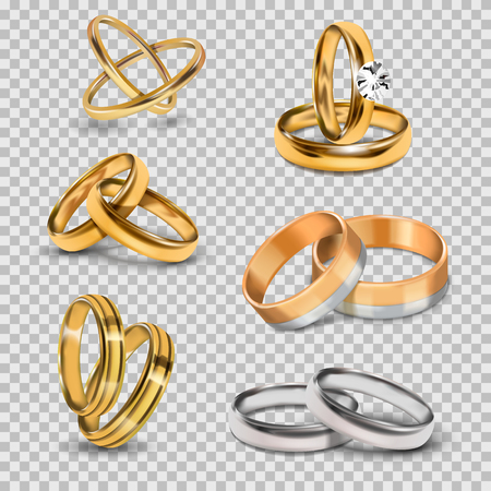 Wedding realistic 3d couples rings gold and silver metal romantic jewelry accessory isolated vector illustration.