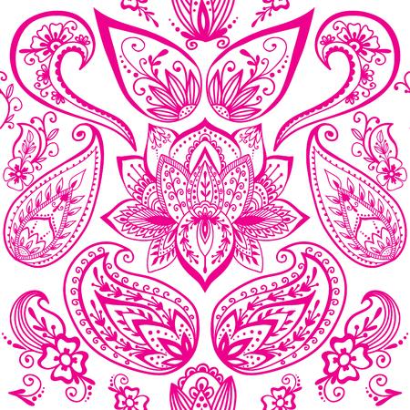 ヘナタトゥー一時的な刺青花落書き装飾装飾的なインディアン デザインのシームレスなパターン ペイズリー アラベスク装飾ベクトル。